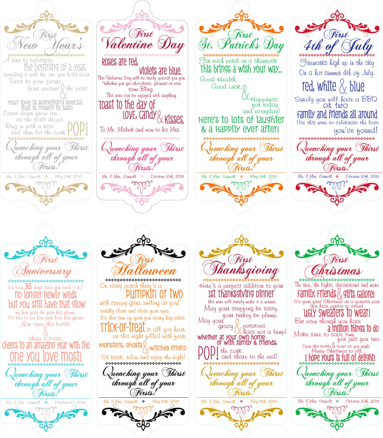 Bridal Shower Wine Poems For Wine Basket 8 HOLIDAY THEMED
