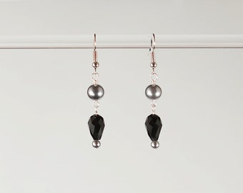 Grey Pearl Black Teardrop Dangle Earrings