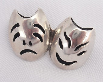 Comedy Tragedy Mask Brooch in Sterling Silver, Hecho Mexico AR Vintage Artisan Jewelry Shadowbox Pin