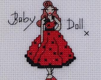 Rockabilly 'baby doll' original cross stitch Instant Download PDF Pattern/chart