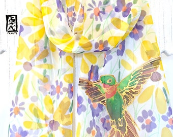 Silk Scarf Women, Bird Scarf, Hand Painted Silk Scarf, Yellow Silk Scarf, Yellow Scarf, Gold Hummingbird and Yellow Echinacea, Made to order