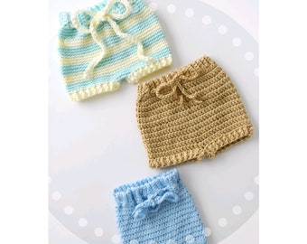 Cute Baby shorts diaper cover crochet Newborn -12 mos