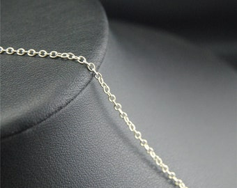 1.5x1mm Silver Plated Round Cable Necklace Chain Link Chain- Soldered C80