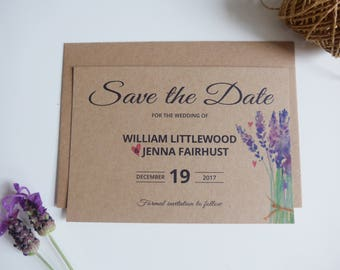 Save the Date Card, Rustic Save-the-Date, Lavender, Kraft