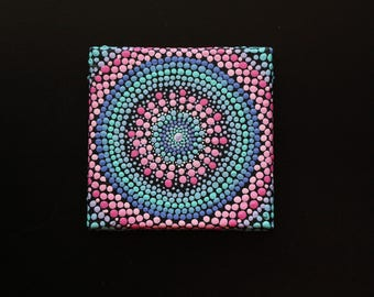 "Hand painted pink and blue mandala on canvas 3"" x 3"" dot pointillism art"