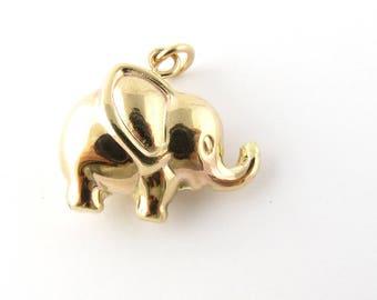 Vintage 10 Karat Yellow Gold Elephant Charm #3251