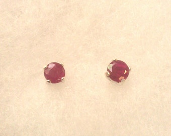 Genuine Ruby (July Birthstone) 4 mm stud earrings