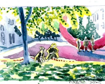 At a Park Plein Air watercolor 11x14 giclee print Munich,Europe,sunlight,impressionist,expressive,colorful,street scene,sketch,travel,art
