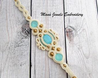 soutache bracelet beige, summer bracelet, boho chic bracelet, colorful bracelet, crystals bracelet, bridal bracelet, chic bracelet, ooak