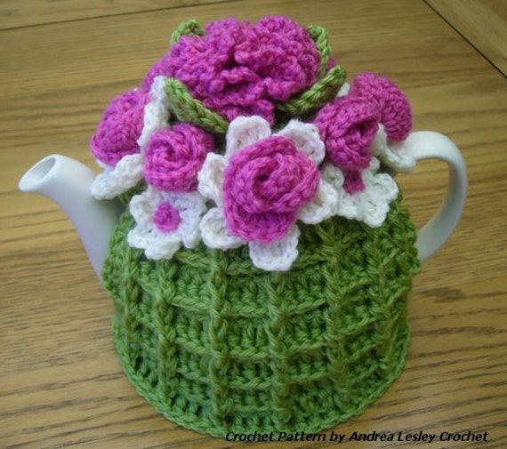 Pattern For Crochet Flower Basket Tea Cosy Instant Download From