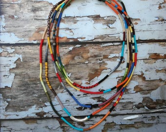 Unique rope jewelry, Bohemian fashion necklace, Colorful layered necklace,Statement rope necklace,Bohemian Colorful Necklace, women necklace