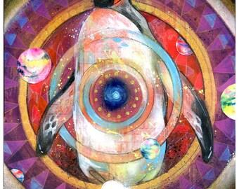 Penguin Art Print - Penguin Artwork - Surreal Art - Planetary Penguin by Black Ink Art