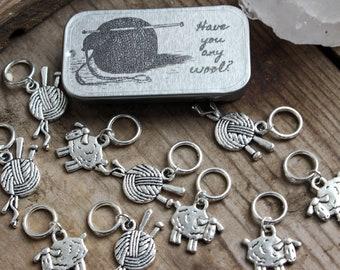 10 Solid Ring Sheep and Yarn Ball Knitting Stitch Markers, Knit Stitch Markers, No Snag Stitch Markers, Sheep Stitch Markers, Gift for Mom