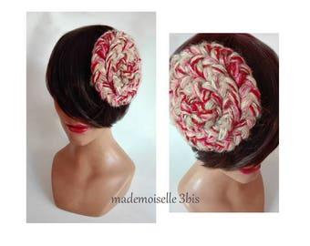 Pink wool fascinator, fascinator winter woman hat, pillbox hat Kopfschmuck Damen Hut