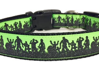 Green Graveyard Dead Zombies Dog Collar