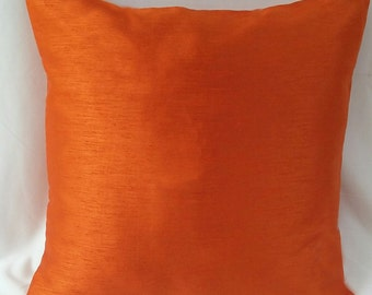 orange  pillow. Decorative cushion cover.   Solid orange  pillow.  Custom made pillow. Available in  all  colors. 18 inch