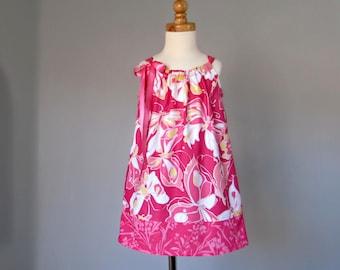 Little Girls Pink Pillowcase Dress - Raspberry Pink with Butterflies - Toddler Girls Sun Dress - Sizes 12m, 18m, 2T, 3T, 4T, 5, 6, 8, or 10
