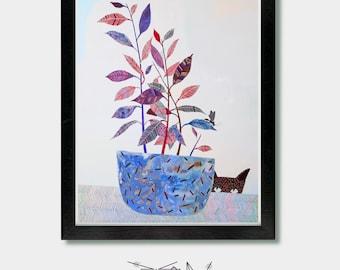 Mid Century Modern, Different Intentions. Cat, Cat Lovers Gift, Black Cat, Funny Bathroom Art, Cat Prints, Cat Art, Mid Century Modern Art