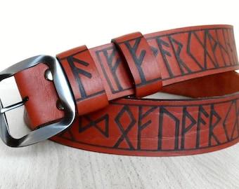 Leather belt with Runes. Handmade genuine leather strap belt waistband Futhark.