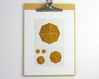 Gold Paper Collage - Origami Sketch No26 - Modern Origami Art - Metallic Gold Art - Modern Home Decor - Paper Anniversary - Geometric  Art