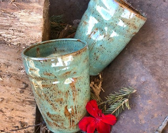13 Ounces - Ergonomic Beverage Tumbler - Seafoam and Caramel Speckled Glaze - Wheel Thrown Pottery