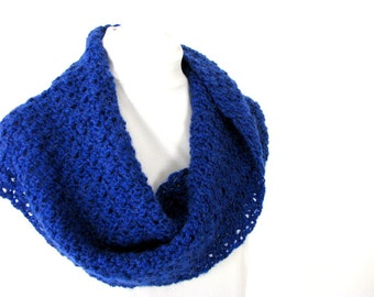 Blue Infinity Shawl, Handmade Crocheted Royal Blue Twisted Scarf