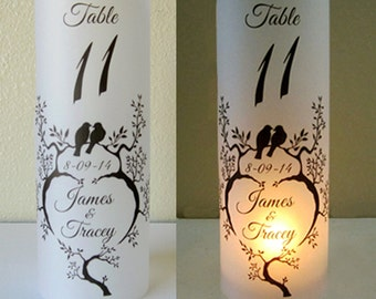 12 Personalized Wedding Centerpiece Luminaries Table Number Love Birds Decoration