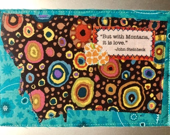 Montana Quilted Postcard - Steinbeck quote