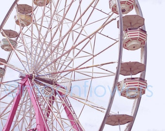 Rosa Ferris Wheel Large Format 16 x 24 Drucken Karneval Sommerspass