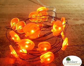 Pumpkin Fairy Lights, Mini Fall Orange PUMPKIN LED Lights, Tiny Lights, Terrariums, Miniature Gardens, Fairy Gardens, Fall Minis