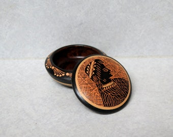 Vintage Carved Stone Round Bowl with Lid, Made in Egypt, Knick Knack Dish, Jewelry Dish, Ring Dish