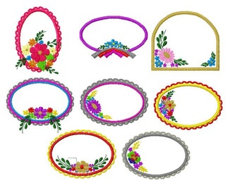 20 Designs, Board Frame Applique Machine Embroidery Design Pack, 4x4 Hoop, PES Format