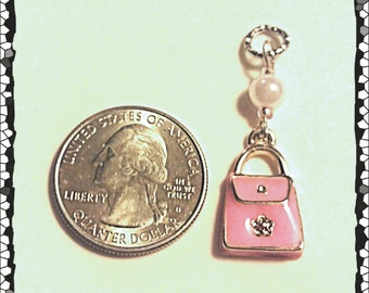 Hearing Aid Charms:  Petite Pink Jeweled Purses with Glass Accent Beads!