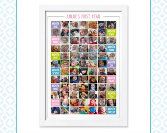 My First Year - Month by Month - Multiple Photo Montage - Baby's First Year - First Birthday