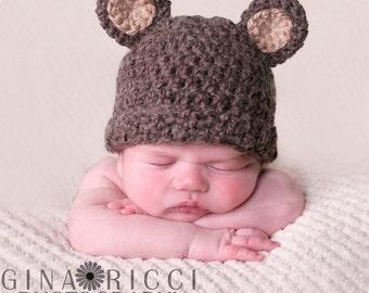 Baby Hat CROCHET PATTERN PDF Bear Beanie Teddy Bear Fuzzy