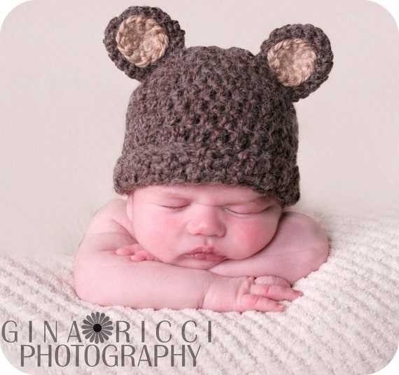 Baby hat crochet pattern pdf bear beanie teddy bear fuzzy dt1010fo