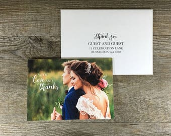 Photo Thank You Card   Add your own photo   Printed and folded Thank You Card with envelope
