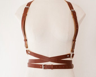 Brown Women Leather Harness with crossed straps