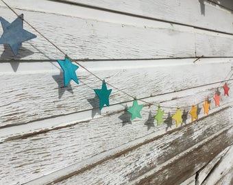 Star Garland  - Rainbow Garland, Waldorf Decoration, Montessori garland