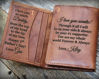 First Fathers Day Gift, Trifold Wallet, Engraved Wallet, Gift for Him, Genuine Leather Wallet, Gift for Husband, Personalized Gift, Sad 7730
