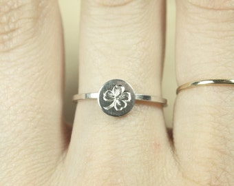Language of Flowers - Clover - Good Luck - Engraved Sterling Silver Ring