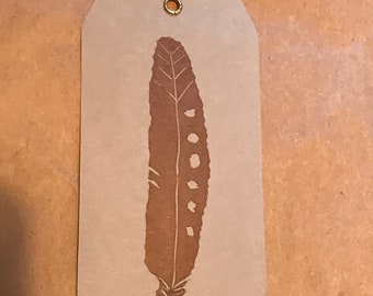 Feather gift tag