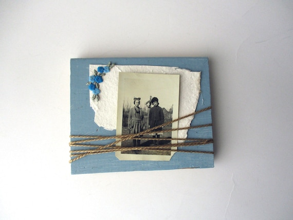 Blue Barn Wood Block Frame, Barnwood Picture Frame with Flowers ...