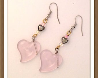 Handmade MWL dangle pink heart earrings. 0089