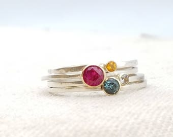 Birthstone Ring · Mother Gift · Stacking Rings · Birthstone Jewelry · Mom Gift · Minimalist Engagement Ring ·  Unique Valentine's Gift