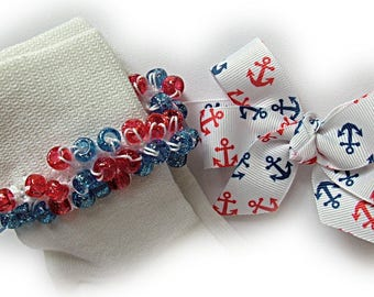 Kathy's Beaded Socks - Navy and Red Anchors Socks and Hairbow, school socks, pony bead socks, clear pony beads, red blue pony beads