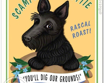 """8x10 Scottie Art - Scottie Coffee - """"You'll Dig Our Grounds"""" -  Art print by Krista Brooks"""