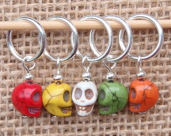 Day of the dead stitch markers, set of five