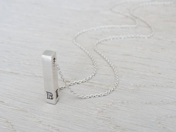 Personalised Silver Bar Necklace ~ Monogram ~ Sterling Silver