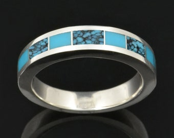 Turquoise Wedding Ring in Sterling Silver, Turquoise Wedding Band, Turquoise Ring with Spiderweb Turquoise by Hileman